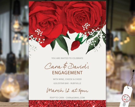 Red Rose Engagement Invitation, Printable Invitation, Red Glitter Invite, Couples Shower, Wedding Invite, Romantic Floral Glitter Engagement