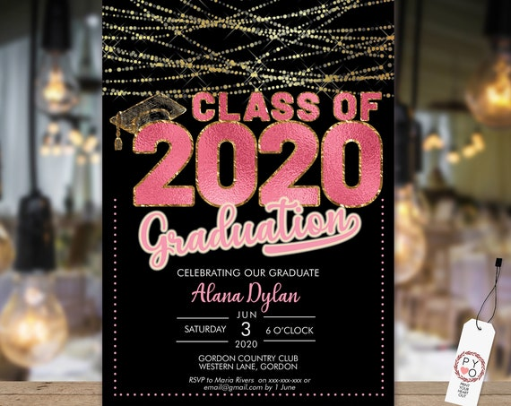 Class of 2020 Pink Graduation Invitation Printable Template, Gold Editable Invitation, Graduate Editable Invite, High School, College Grad
