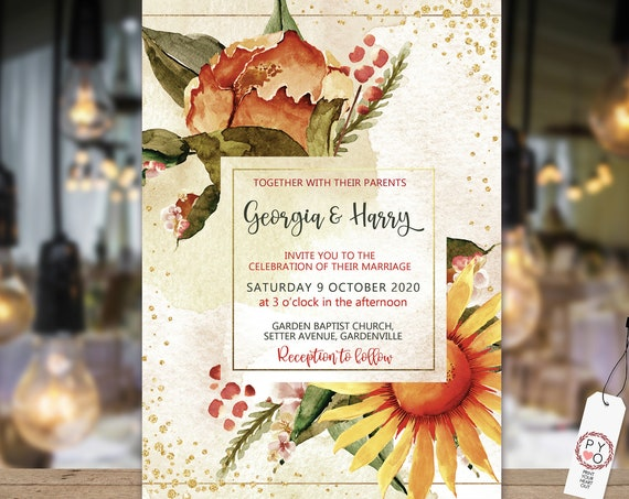 Sunflower Gold Glitter Fall Floral Wedding Invitation, Autumn Invitation, Watercolor Fall Invitation, Printable, Editable Template,  Invite