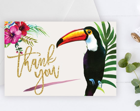 INSTANT DOWNLOAD - Thank You Card, Gold Glitter Toucan, Summer Spring, Pink Hibiscus, Tropical Thank You, Printable Thank You Card, Birds