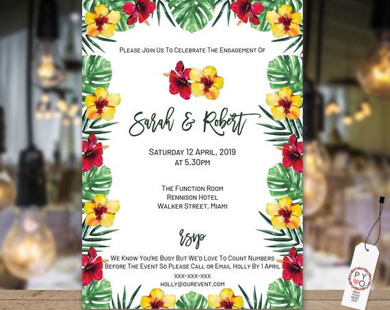 TRY Before You BUY - Tropical Greenery engagement invitation, Botanical engagement invitation, Hawaiian Invitation, Hibiscus Invitation