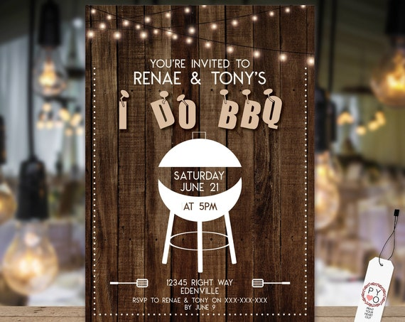 TRY Before You BUY - I Do BBQ engagement invitation, Printable I Do Invitation, Lights Engagement Invite, Couples Shower, Wedding bbq invite