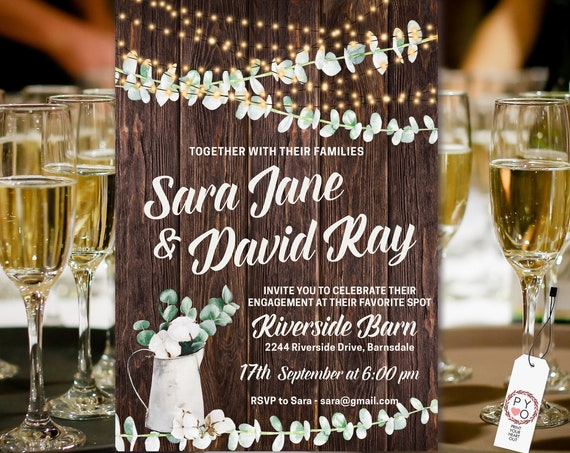 Rustic Engagement Invitation, Party Lights invitation, Woodfence invitation, Rustic Eucalyptus, Boho Wedding, Green Vines, Cotton Pods