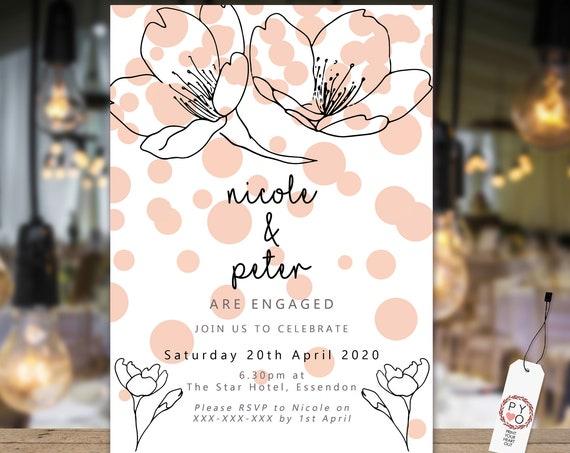 Floral Peach Confetti Engagement Invitation, Printable Invitation, Apricot Engagement Invite, Couples Shower, Wedding Invite, Black Line