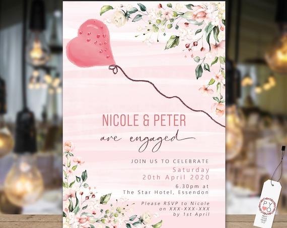 Pink Roses Heart Balloon Engagement Invitation, Printable Invitation, Blush Engagement Invite, Couples Shower, Wedding Invite, Romantic