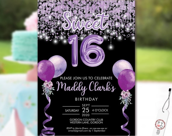 Sweet 16 Party Invitation Printable Template, Black Editable Invitation, 16th Birthday, Purple Balloon Invite, 16 Lavender Editable Invite