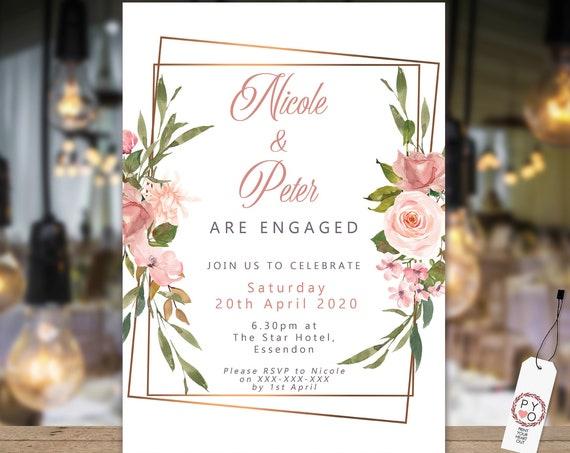 Pink Roses Gold Frame Engagement Invitation, Printable Invitation, Blush Engagement Invite, Couples Shower, Wedding Invite, Gold Frame