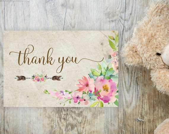 Boho Pink Floral Arrow Thank You Card, Baby Thanks, Printable Thank You Card, Pink Baby Girl Shower, Pink Thanks Notecard, Tribal Thank You