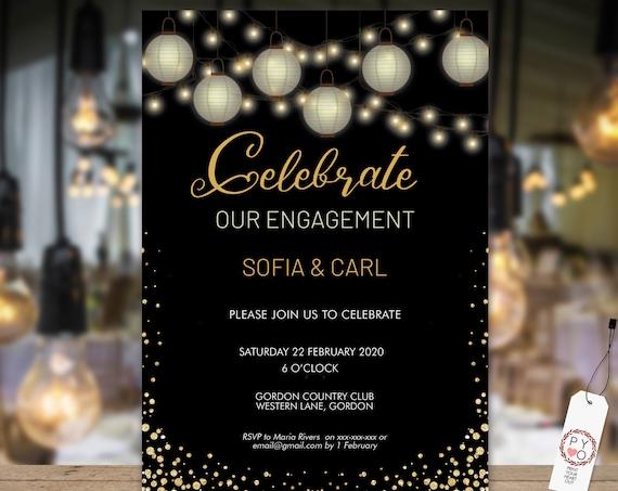 White Gold Lanterns Engagement Invitation, Printable Invitation, Gold Glitter Invite, Couples Shower, Wedding Invite, Modern Paper Lanterns