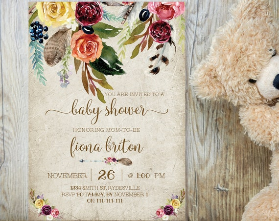 Boho Yellow Rose Baby Shower Invitation, Baby Shower Invitation, Printable Baby Shower, Editable Template, Floral Arrow, Gender Neutral