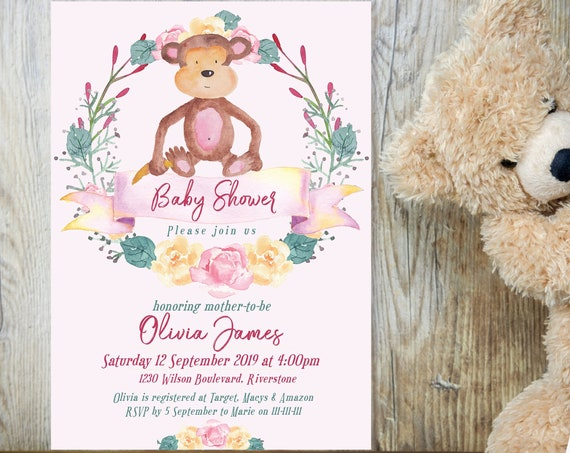 Pink Monkey Floral Baby Shower Invitation, Baby Girl Shower Invitation, Printable Baby Shower, Editable Template Baby Shower Baby Animal