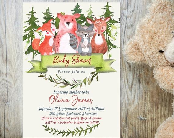 Woodland Animals Baby Shower Invitation, Gender Reveal Invitation, Printable Baby Shower, Editable Template Baby Shower Baby Animals, Bears