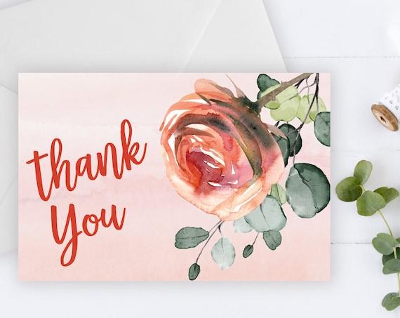 INSTANT DOWNLOAD - Thank You Card, Peach Green, Summer Spring, Orange Flower, Rose Flower, Bridal Thank You, Printable Thank You Card