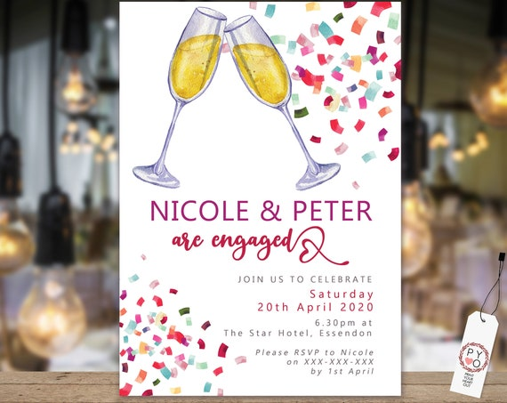 Champagne Confetti Engagement Invitation, Printable Invitation, Bright Engagement Invite, Couples Shower, Wedding Invite, Multicolored Cheer