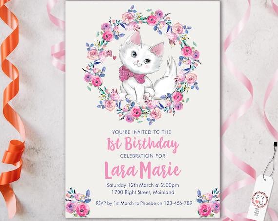 Pink Kitten 1st Birthday Floral Invitation Printable Template, Editable Invitation, Any Age Birthday, White Cat DIY Party, Girls Birthday