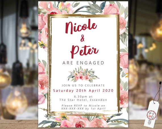 Pink Gold Floral Engagement Invitation, Printable Invitation, Burgundy Engagement Invite, Couples Shower, Wedding Invite, Gold Frame