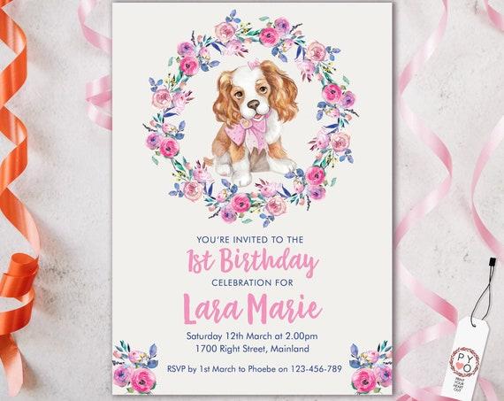 Pink Puppy 1st Birthday Invitation Printable Template, Editable Invitation, Any Age Birthday, Cavalier King Charles Party, Girls Birthday