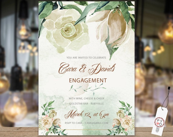 Cream Rose Magnolia Engagement Invitation, Printable Invitation, Floral Invite, Couples Shower, Wedding Invite, Romantic Floral Engagement