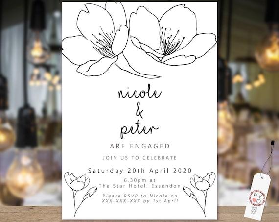 Floral Black and White Engagement Invitation, Printable Invitation, Sketch Engagement Invite, Couples Shower, Wedding Invite, Black Line