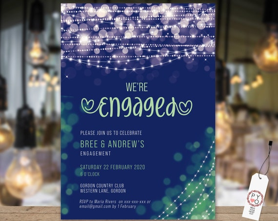 Blue Green Lights Engagement Invitation, Printable Invitation, Navy Engagement Invite, Couples Shower, Wedding Invite, Modern Bokeh Light