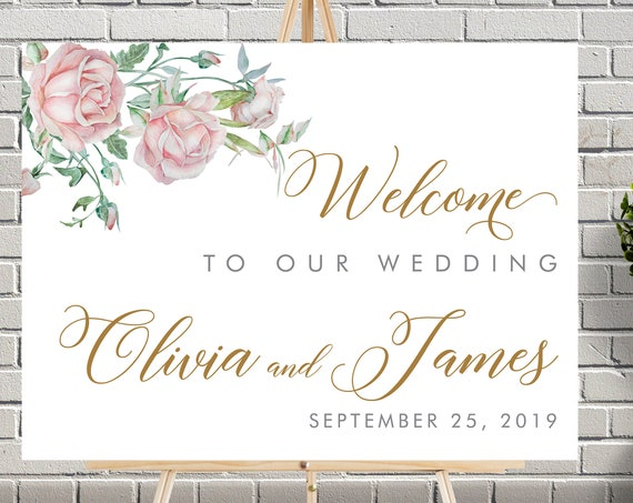 Blush Pink Floral Wedding Sign • Gold Cream Roses • Watercolor Flower Printable Welcome Sign • Geometric Wedding Welcome Sign • Editable
