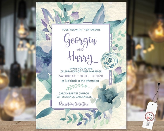 Blue Lilac Floral Wedding Invitation, Spring Flowers Invitation, Watercolor Mauve Invitation, Printable, Editable Template, Pastel Invite