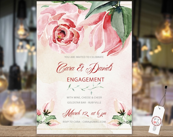 Pink Rose Magnolia Engagement Invitation, Printable Invitation, Floral Invite, Couples Shower, Wedding Invite, Romantic Floral Engagement