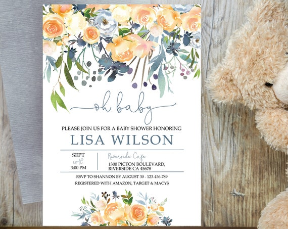 Peach Blue Floral Baby Shower Invitation, Orange Peony Shower Invitation, Printable Baby Shower, Editable Template, Watercolor Baby Shower