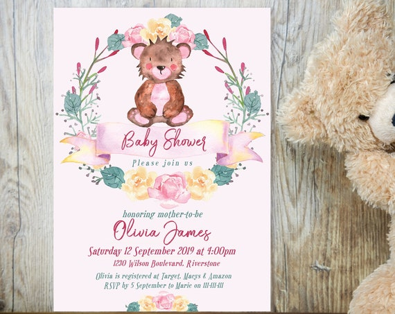 Pink Bear Floral Baby Shower Invitation, Baby Girl Shower Invitation, Printable Baby Shower, Editable Template Baby Shower Baby Animal