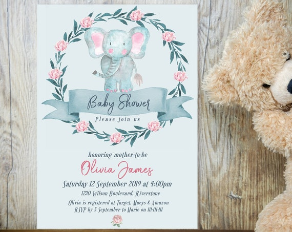Blue Elephant Floral Baby Shower Invitation, Gender Reveal Invitation, Printable Baby Shower, Editable Template Baby Shower Baby Animal