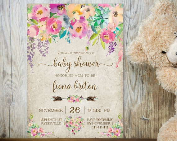 Pink Boho Floral Baby Shower Invitation, Baby Shower Invitation, Printable Baby Shower, Editable Template, Floral Arrow, TRY Before You BUY!