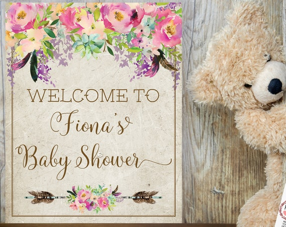 TRY Before You BUY! Pink Boho Baby Girl Shower Welcome Sign, Baby Girl Shower Sign, Printable Welcome Baby Shower, Editable Template