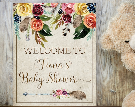 TRY Before You BUY! Boho Yellow Rose Baby Shower Welcome Sign, Baby Shower Sign, Printable Welcome Baby Shower, Gender Neutral Baby Shower