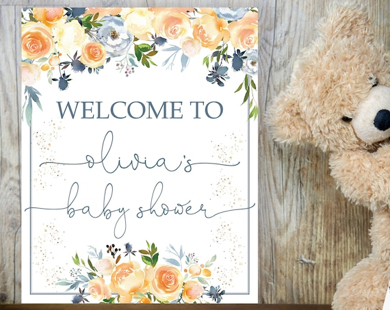 Peach Blue Floral Baby Shower Welcome Sign, Gender Neutral Shower Sign, Printable Apricot Baby Shower, Editable Template, Pastel Floral Sign