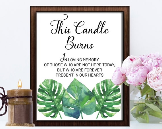INSTANT DOWNLOAD - Wedding Sign, In Loving Memory Sign, In Our Hearts, Wedding Sign, Memorial Sign, Loving Memory Sign, Tropical Leaves Sign