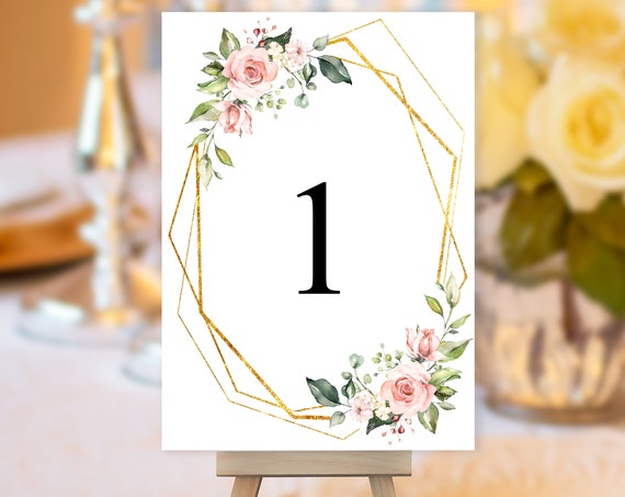 TRY Before You BUY! Gold Frame Blush Rose Table Number, Pink Wedding Sign, Floral Wedding Table Number, Table Sign, Table Number Geometric