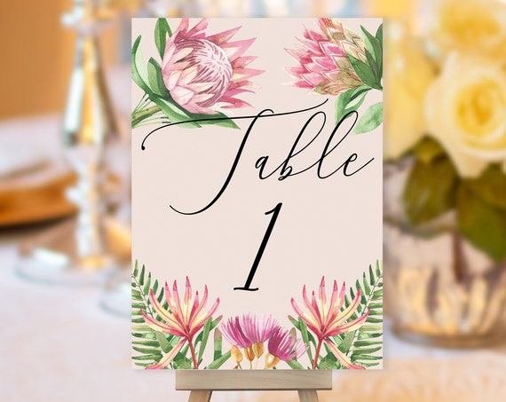 TRY Before You BUY! Pink King Protea Table Number, Pink Wedding Sign, Floral Wedding Table Number, Flower Table Sign, Tropical Table Number