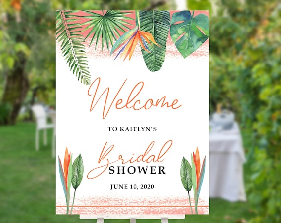Bird of Paradise Bridal Shower Welcome Sign, Tropical Flowers Personalized Bridal Shower Sign, Welcome Sign Bridal Shower, Orange Flowers