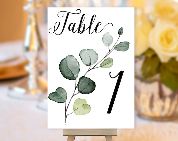 TRY Before You BUY! Eucalyptus Leaf Table Number, Greenery Wedding Sign, Botanical Wedding Table Number, Table Sign, Table Number Printable