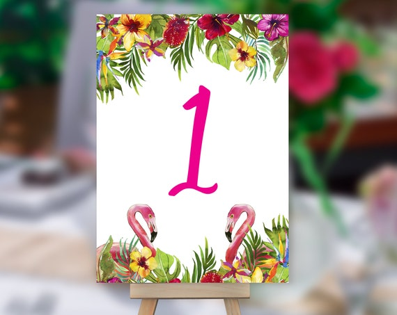 Flamingo Table Number, Tropical Wedding Table Number, Table Sign, Pink Table Number, Palm Leaves Table Card, Beach Wedding Table Number