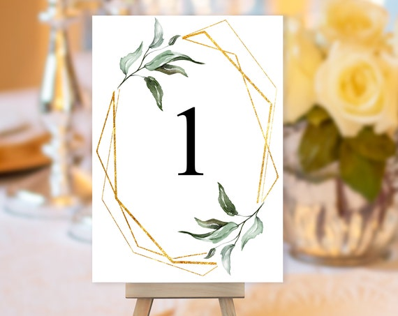 TRY Before You BUY! Gold Frame Leaf Table Number, Greenery Wedding Sign, Botanical Wedding Table Number, Table Sign, Table Number Geometric
