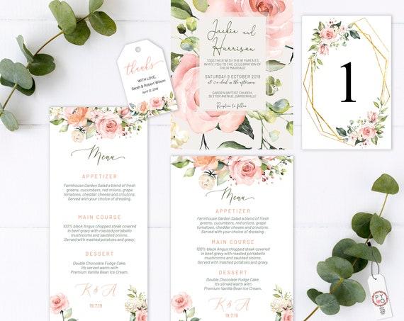 Blush Rose Wedding Invitation Bundle, Pink Wedding, Thank You Tag, Romantic Rose Wedding Menu, Blush Menu, Editable Gold Pink Table Numbers