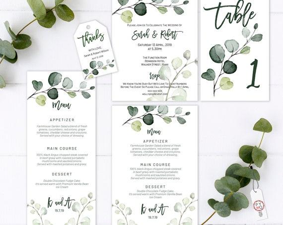 Greenery Wedding Invitation Bundle, Botanical Wedding, Thank You Tag, Leaves Wedding Menu, Eucalyptus Menu, Editable Green Table Numbers