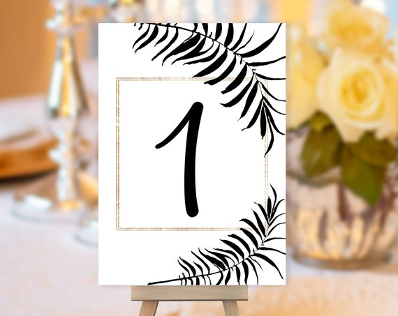 Black Gold Leaves Table Number, Tropical Wedding Table Number, Table Sign, Art Deco Table Number, Palm Leaves Table Card, Black & White Card