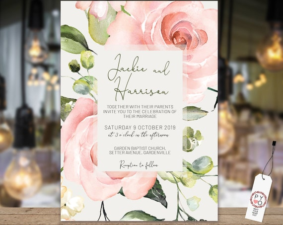 Pink Floral Wedding Invitation, Rose Invitation, Rehearsal Invitation, Watercolor Flower Invitation, Printable Pink Rose, Editable Template