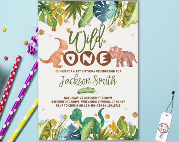 Wild One 1st Birthday Dinosaur Invitation Printable Template, One Editable Birthday Invitation for Boys, Jungle Tropical Leaf First Birthday