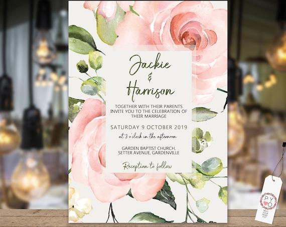 Blush Pink Rose Garden Wedding Invitation, Watercolor Flower Invitation, Printable Pink Rose, Editable Template, Romantic Wedding Invite