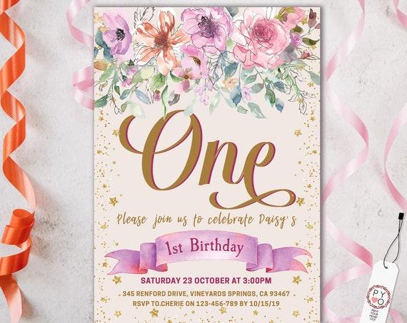 1st Birthday Pink Banner Flowers Invitation Printable Template, One Editable Invitation, Gold Glitter Stars First Birthday, Purple Floral