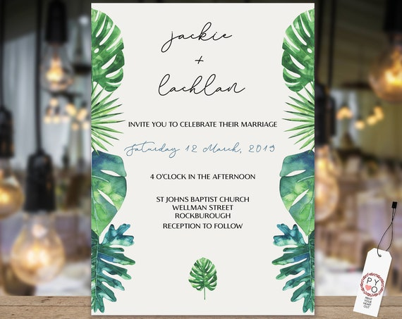 Green Leaf Wedding Invitation, Tropical Wedding Invite, Botanical Wedding, Hawaiian Invitation, Palm Tree Invitations, TRY Before You BUY