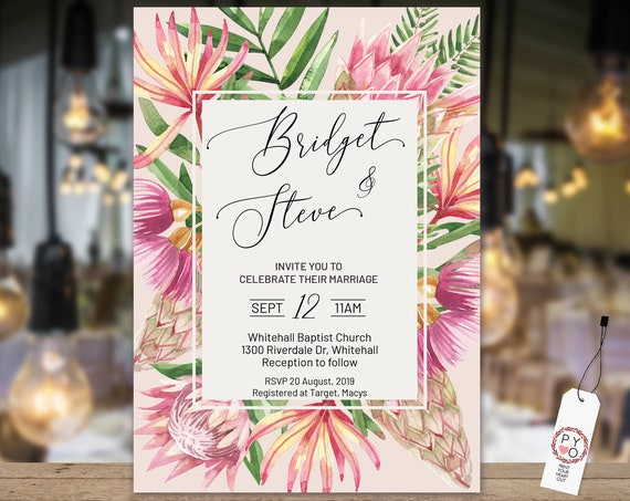 Tropical floral Wedding Invitation, Modern Leaf Invitation, Reception Invitation, Pink Invitation, Printable Protea, Wildflower Invitation